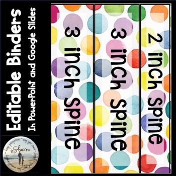 Editable Labels, Binder Covers & Spines - Bright Watercolor Dots