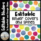 Editable Binder Covers & Spines - Bright Watercolor Dots