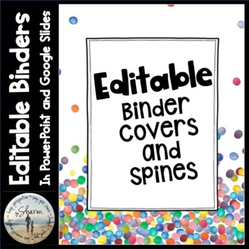 Editable Labels, Binder Covers & Spines - Confetti