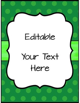 Editable Labels, Binder Covers & Spines - Green