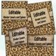 Editable Labels, Binder Covers & Spines - Leopard