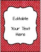 Editable Labels, Binder Covers & Spines - Red with White Dots