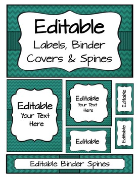 Editable Labels, Binder Covers & Spines - Teal Chevron
