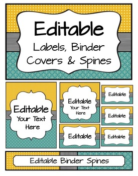 Editable Labels, Binder Covers & Spines - Teal & Mustard
