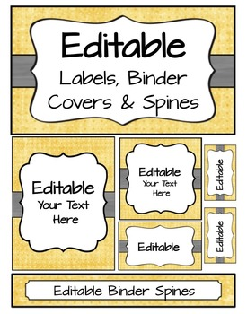 Editable Labels, Binder Covers & Spines - Yellow dot