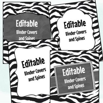 Editable Labels, Binder Covers & Spines - Zebra