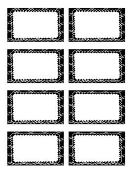 Black and White Editable Labels Chevron