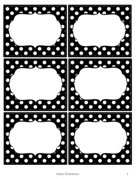 Labels and Digital Papers - Black and White Polka Dot