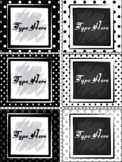 Editable Labels - Black and White Labels Polka Dots