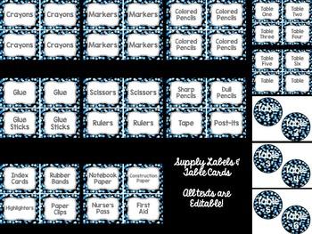 Editable Labels: Blue Confetti (Polka Dots)