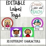 Editable Labels Name Tags Book Bins