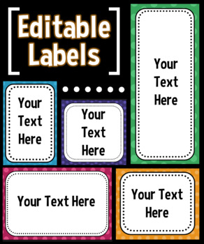 EDITABLE Labels - Bright N' Bold