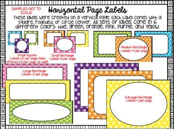 Editable Labels--Bright Polka Dots