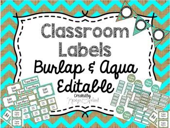 Editable Labels: Burlap & Aqua