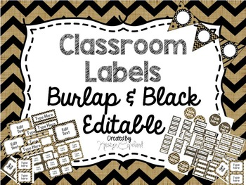 Editable Labels: Burlap & Black
