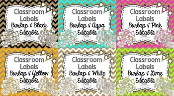 Editable Labels: Burlap Bundle