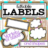 Editable Labels Burlap & Dots