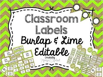 Editable Labels: Burlap & Lime