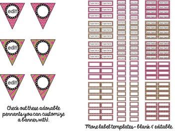 Editable Labels: Burlap & Pink