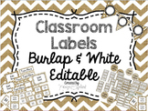 Burlap & White/Farmhouse Labels: Editable