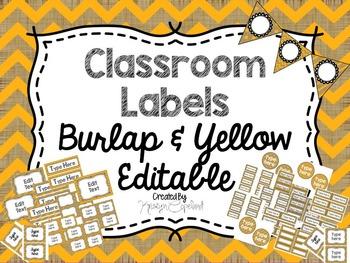 Editable Labels: Burlap & Yellow