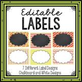 Editable Labels Chalkboard Coral and Pear