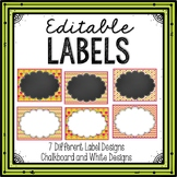 Editable Labels Chalkboard Pink and Green