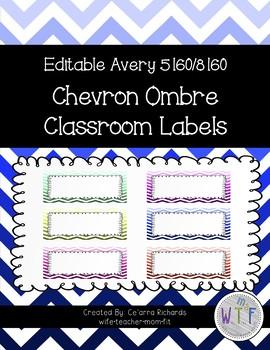 Editable Labels - Chevron Ombre
