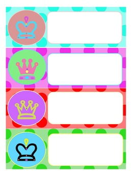 Editable Labels : Colorful Crowns