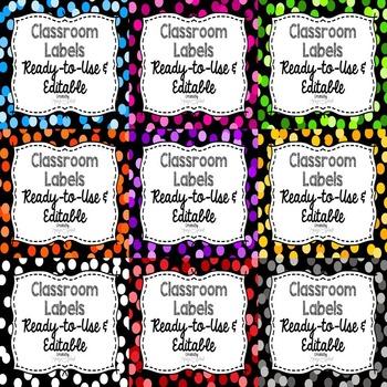 Editable Labels: Confetti BUNDLE