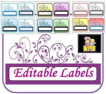 Editable Glitter Labels - Back to school