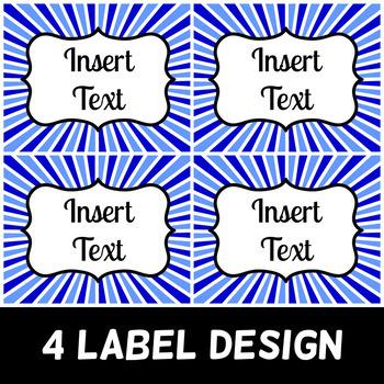 Editable Labels - Starburst Theme - 9 Colors, 3 Sizes!