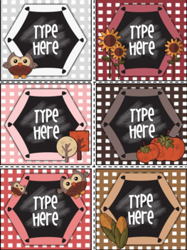 Editable Labels - Fall Labels