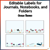 Editable Labels For Journals, Notebooks, and Folders Ocean Theme