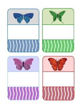 Editable Labels : Glitter Butterfly on Curvy Stripes