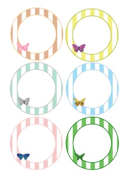 Editable Labels : Glitter Butterfly on Pastel Stripes