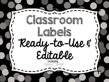 Editable Labels: Gray Confetti (Polka Dots)