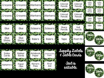Editable Labels: Green Confetti (Polka Dots)