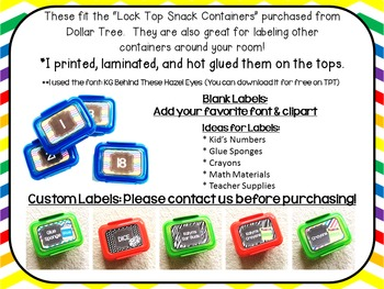 "Editable Chevron Labels ~ Labels for the ""Snack Containers"" from Dollar Tree"