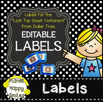 "Polka Dot Editable Labels ~ Labels for the ""Snack Containers"" from Dollar Tree"