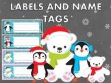 Editable Labels & Name Tags : Christmas Winter Penguins and Polar Bears