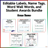 Editable Labels, Name Tags, Student Awards, Word Wall Word