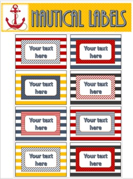 Editable Labels - Nautical/Stripes
