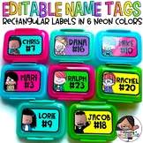 Editable Labels | Neon Colors | Rectangular Labels