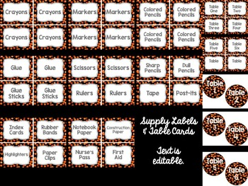 Editable Labels: Orange Confetti (Polka Dots)