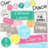 Editable Labels   Our Happy Place Classroom Decor   Rainbo