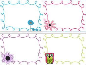 Editable Labels--Owls, birds, flowers