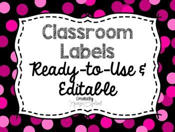 Editable Labels: Pink Confetti (Polka Dots)