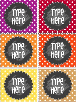 Editable Labels-Polka Dot Labels