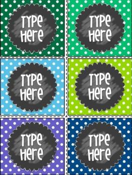 Editable Labels-Polka Dot Labels